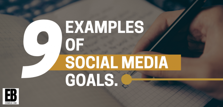 image of text - 9 examples of social media goals